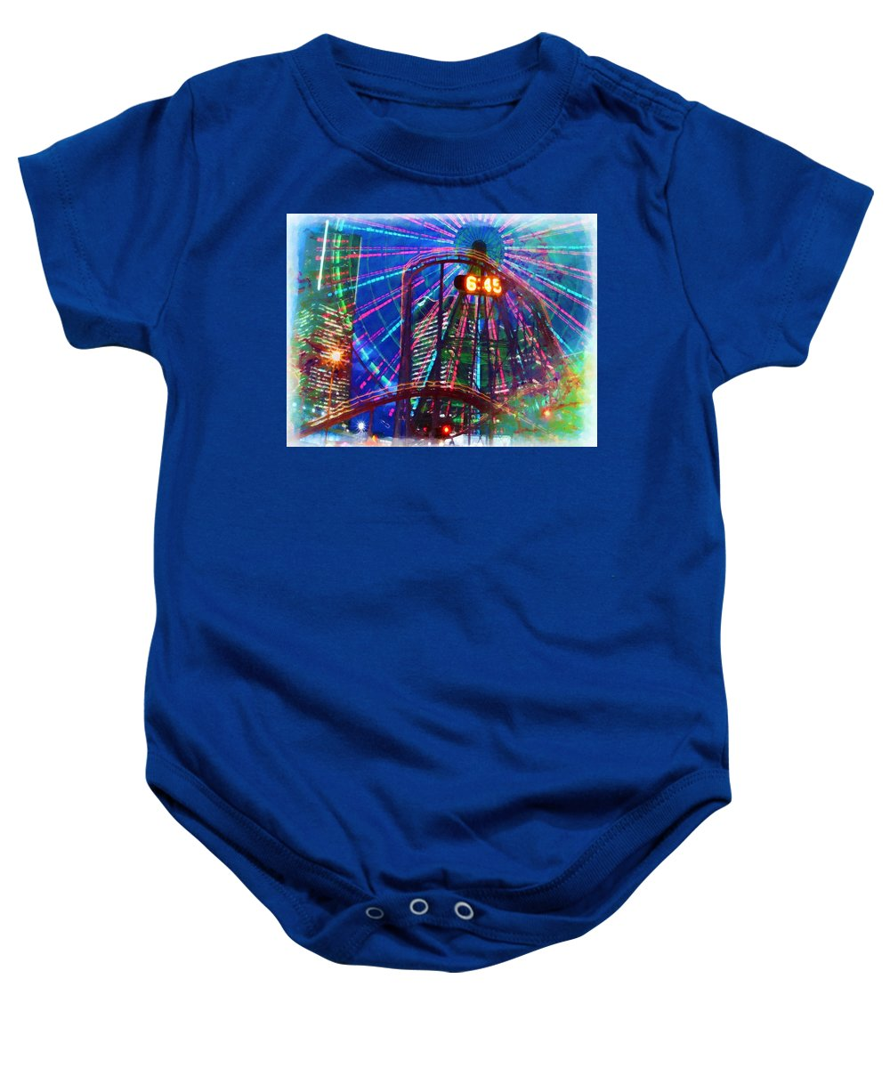 Island Baby Onesie featuring the painting Wonder Wheel At The Coney Island Amusement Park by Jeelan Clark