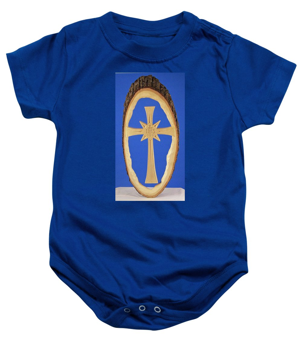 Woodland Cross Baby Onesie featuring the photograph Woodland Cross by James Pinkerton