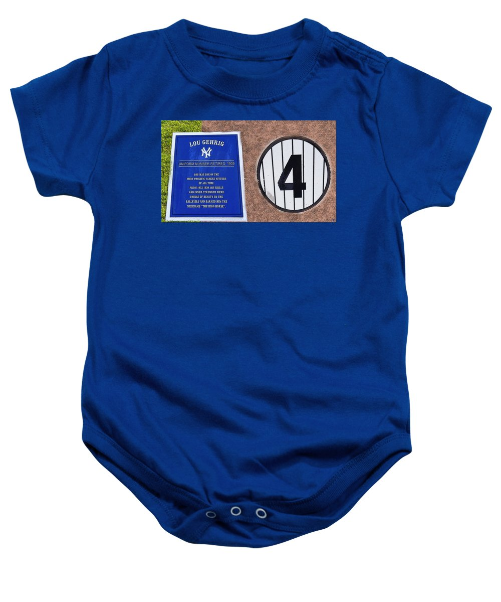 Art Baby Onesie featuring the painting Yankee Legends Number 4 by David Lee Thompson