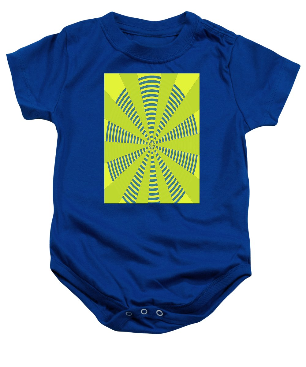 Yellow Cactus Spines Abstract Baby Onesie featuring the digital art Yellow Cactus Spines Abstract by Tom Janca