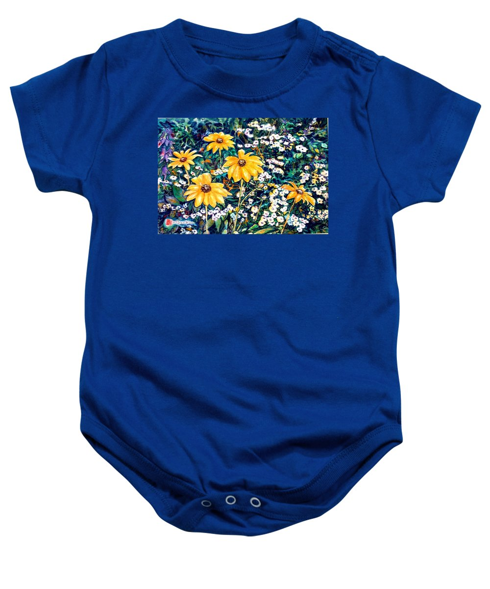 Daisies Baby Onesie featuring the painting Yellow Daisies by Norma Boeckler