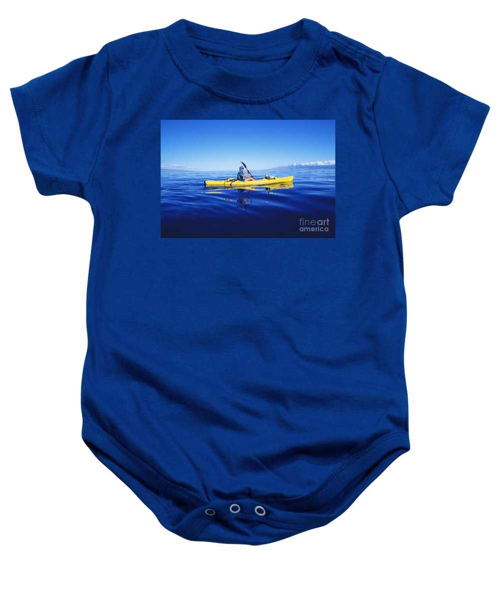 Adventure Baby Onesie featuring the photograph Yellow Kayak by Ron Dahlquist - Printscapes