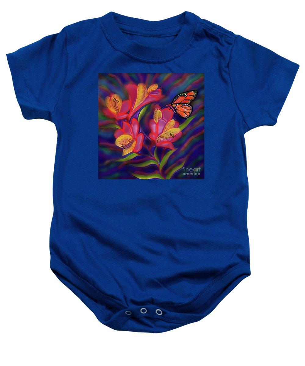 Alstroemeria Flower Painting Baby Onesie featuring the digital art End Of Summer by Latha Gokuldas Panicker