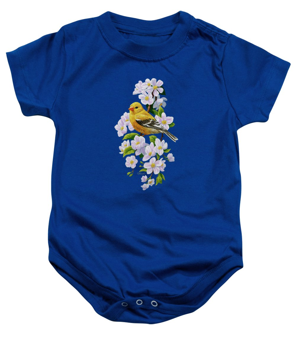 Bird Baby Onesie featuring the painting Female American Goldfinch And Apple Blossoms by Crista Forest