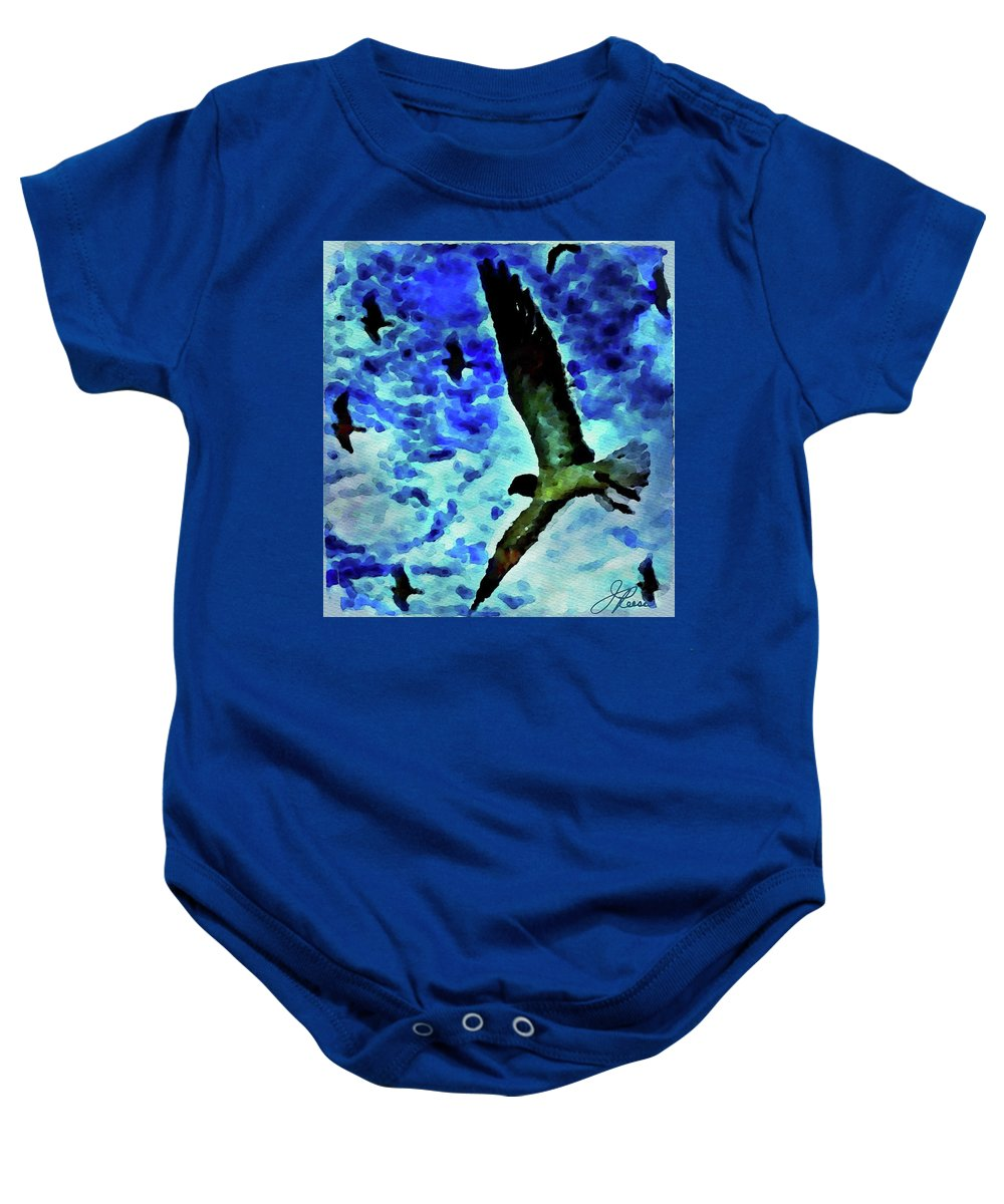 Painting Of Flying Seagulls In The Blue Sky Baby Onesie featuring the painting Flying Seagulls by Joan Reese