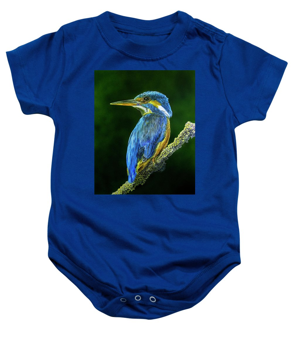 Kingfisher Baby Onesie featuring the mixed media Kingfisher by Raymond Ore