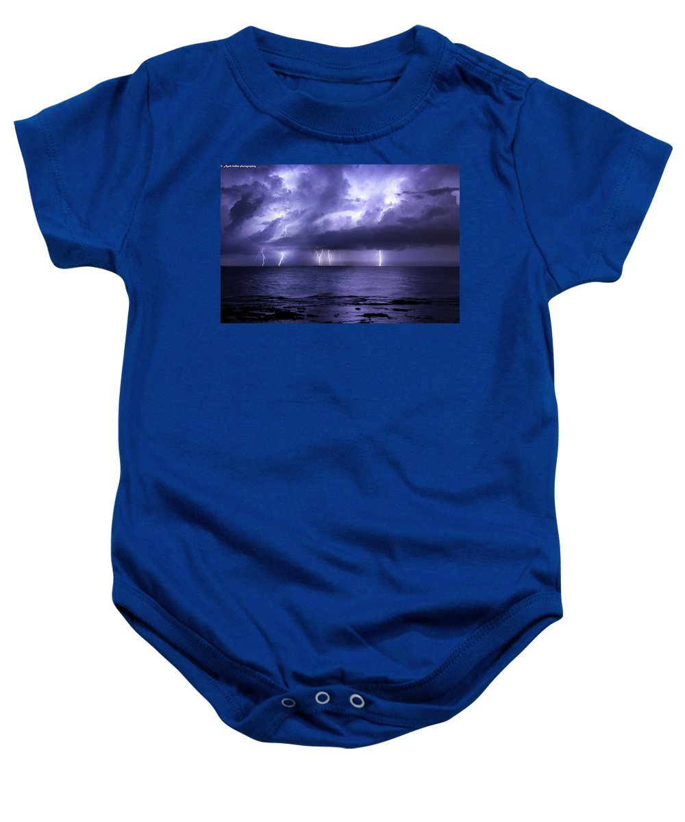 Lighting Baby Onesie featuring the photograph Lighting Sea by Ayob Kabha