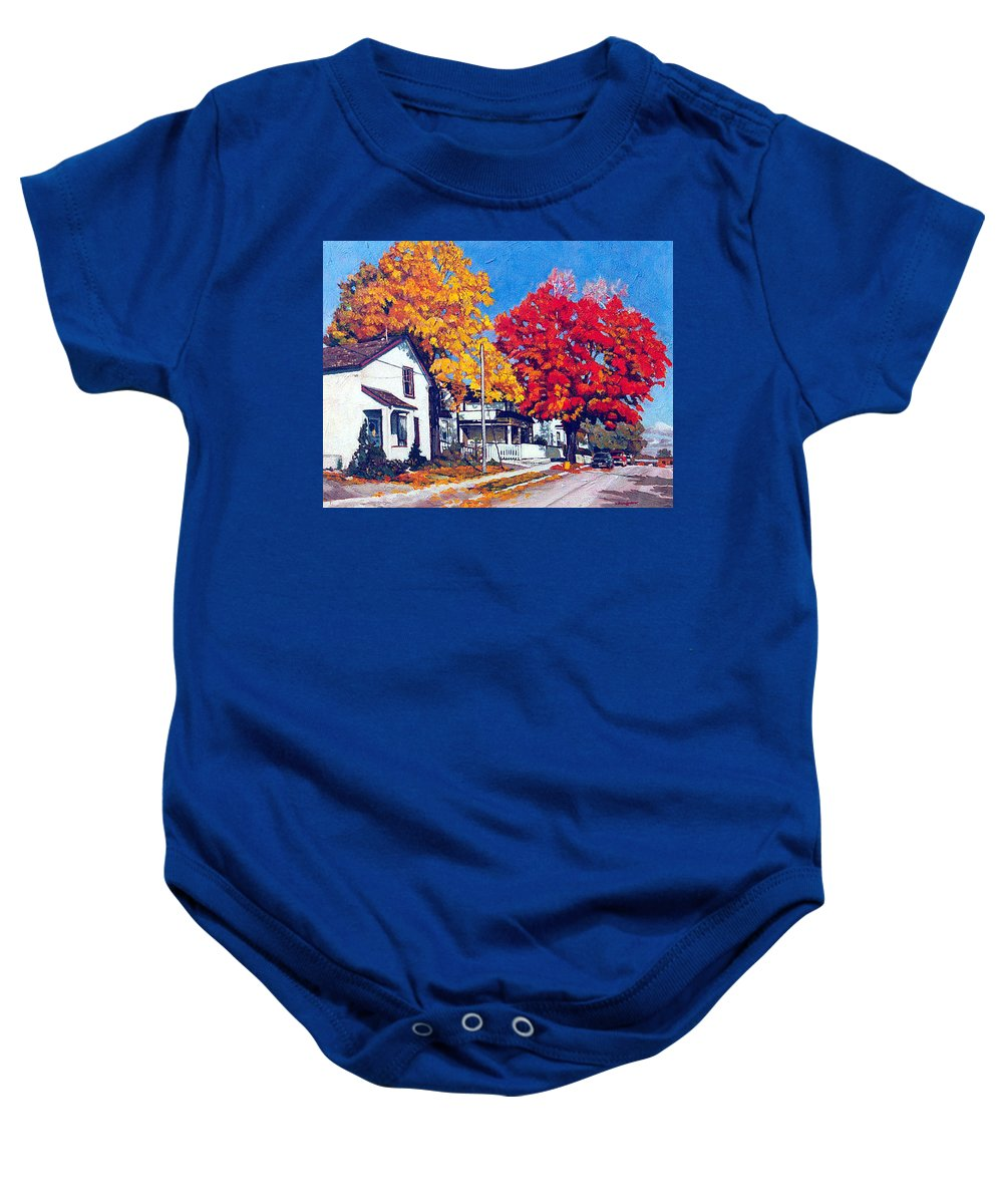 Fall Colour - Urban Scene Baby Onesie featuring the painting Machelle Street, by Anthony Palmer