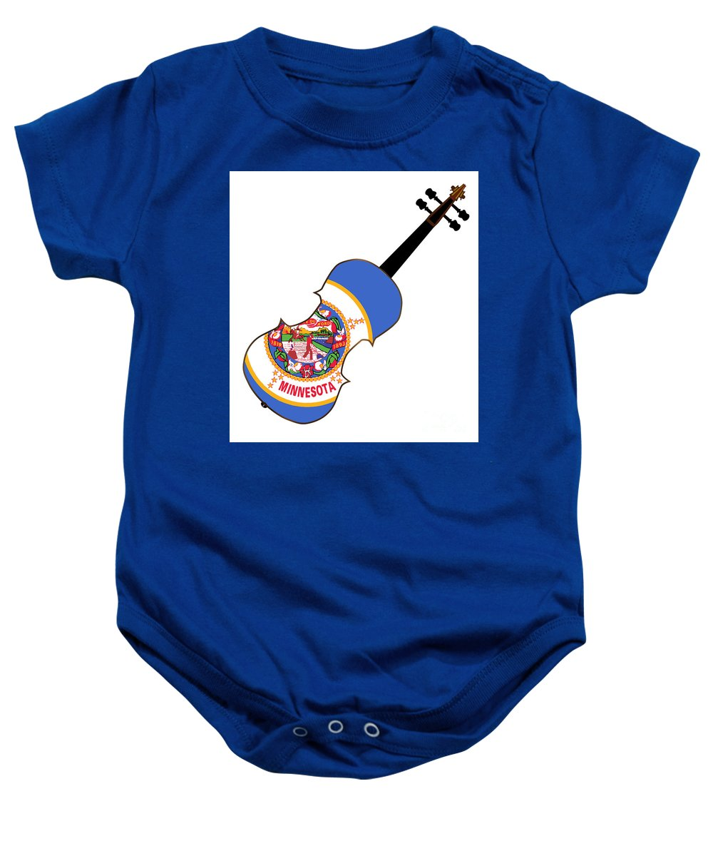 Violin Baby Onesie featuring the digital art Minnesota State Fiddle by Bigalbaloo Stock