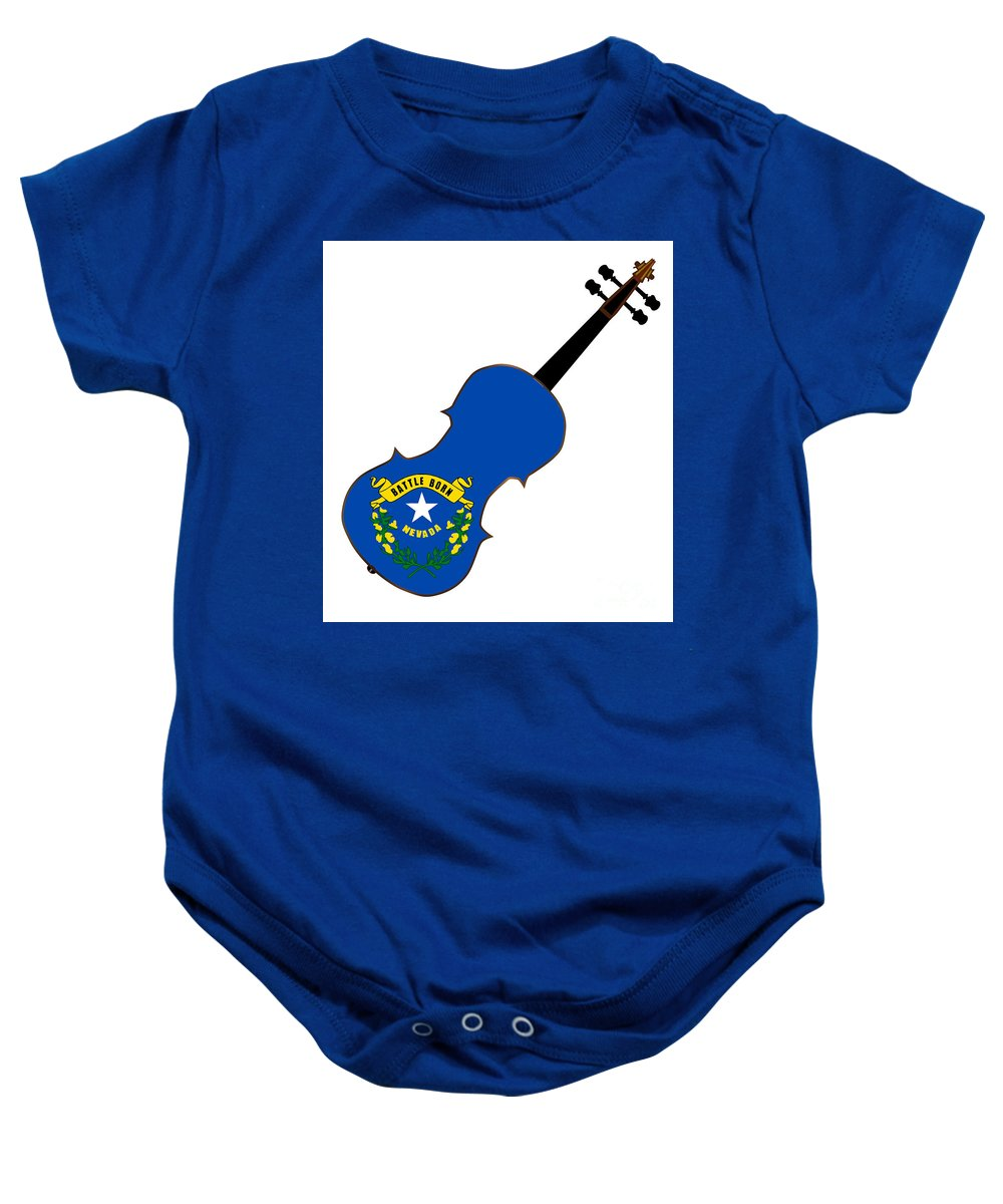 Violin Baby Onesie featuring the digital art Nevada State Fiddle by Bigalbaloo Stock