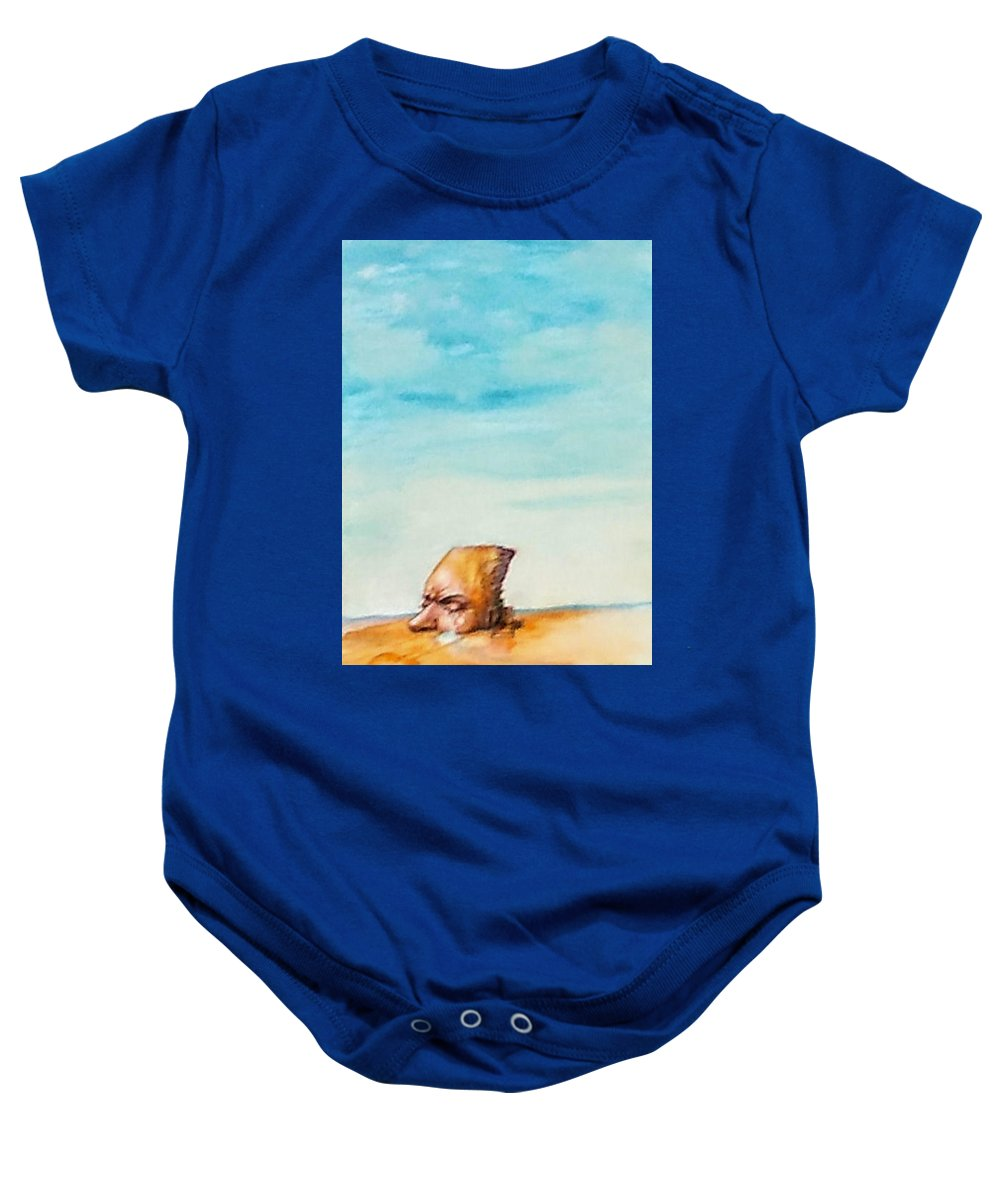 Surreal Landscape Baby Onesie featuring the painting Ted's Tears In The Desert by Lois McMorris
