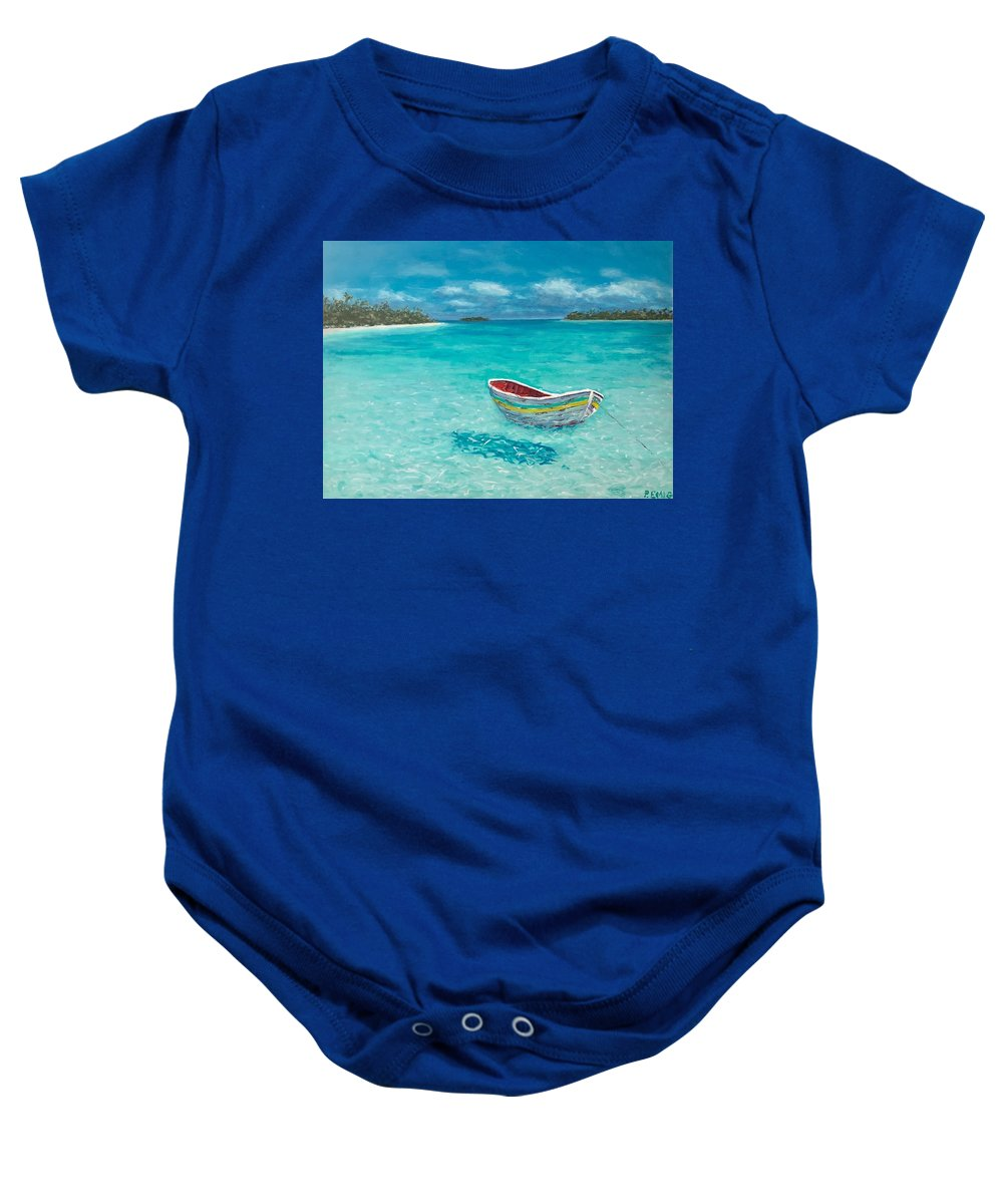 Dinghy Baby Onesie featuring the painting Tranquil by Paul Emig