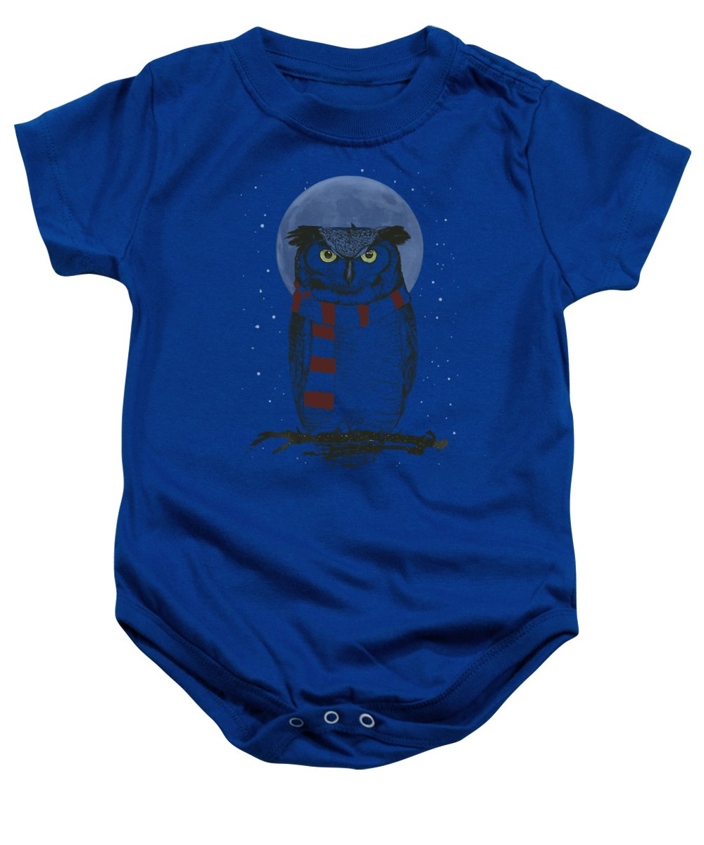 Owl Baby Onesie featuring the mixed media Winter owl by Balazs Solti