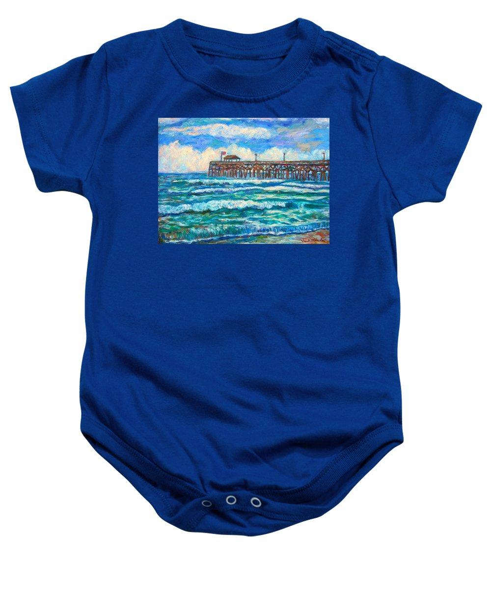 Shore Scenes Baby Onesie featuring the painting Breakers at Pawleys Island by Kendall Kessler