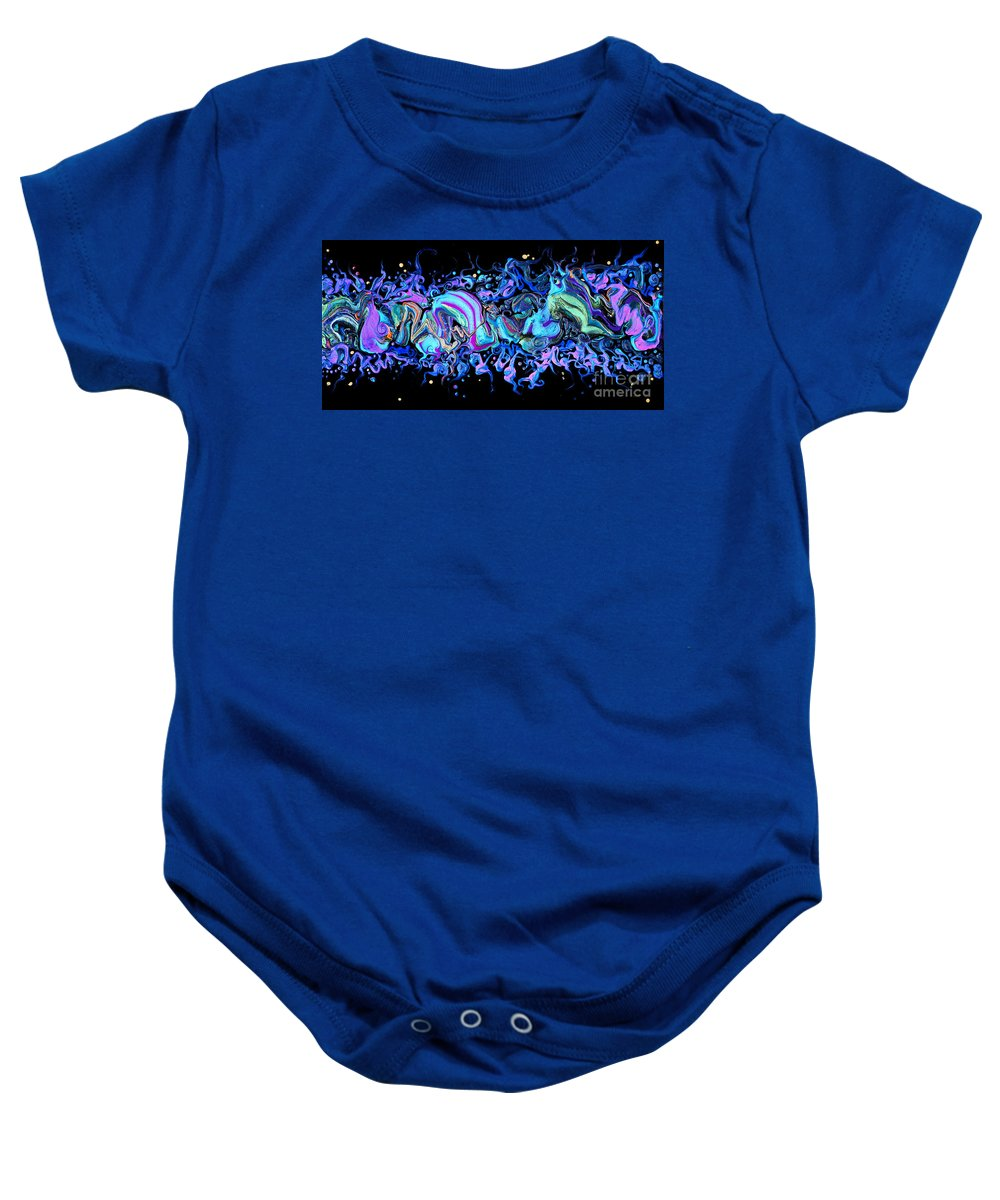 Freeform Shapes Floating Compelling Dramatic Colorful Seductive Organic Dynamic Fun Baby Onesie featuring the painting I hear Laughter On The Wind 7205 by Priscilla Batzell Expressionist Art Studio Gallery