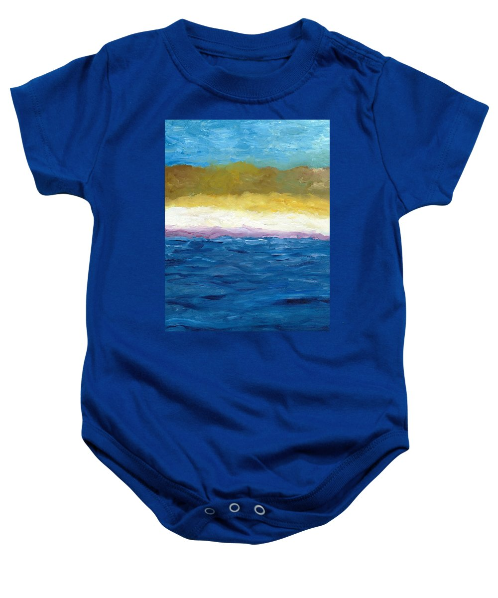 Abstract Landscape Baby Onesie featuring the painting Lake Michigan Dunes Study by Michelle Calkins