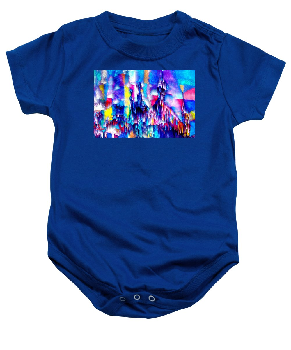 City Lights Baby Onesie featuring the mixed media Music of the City by Seth Weaver