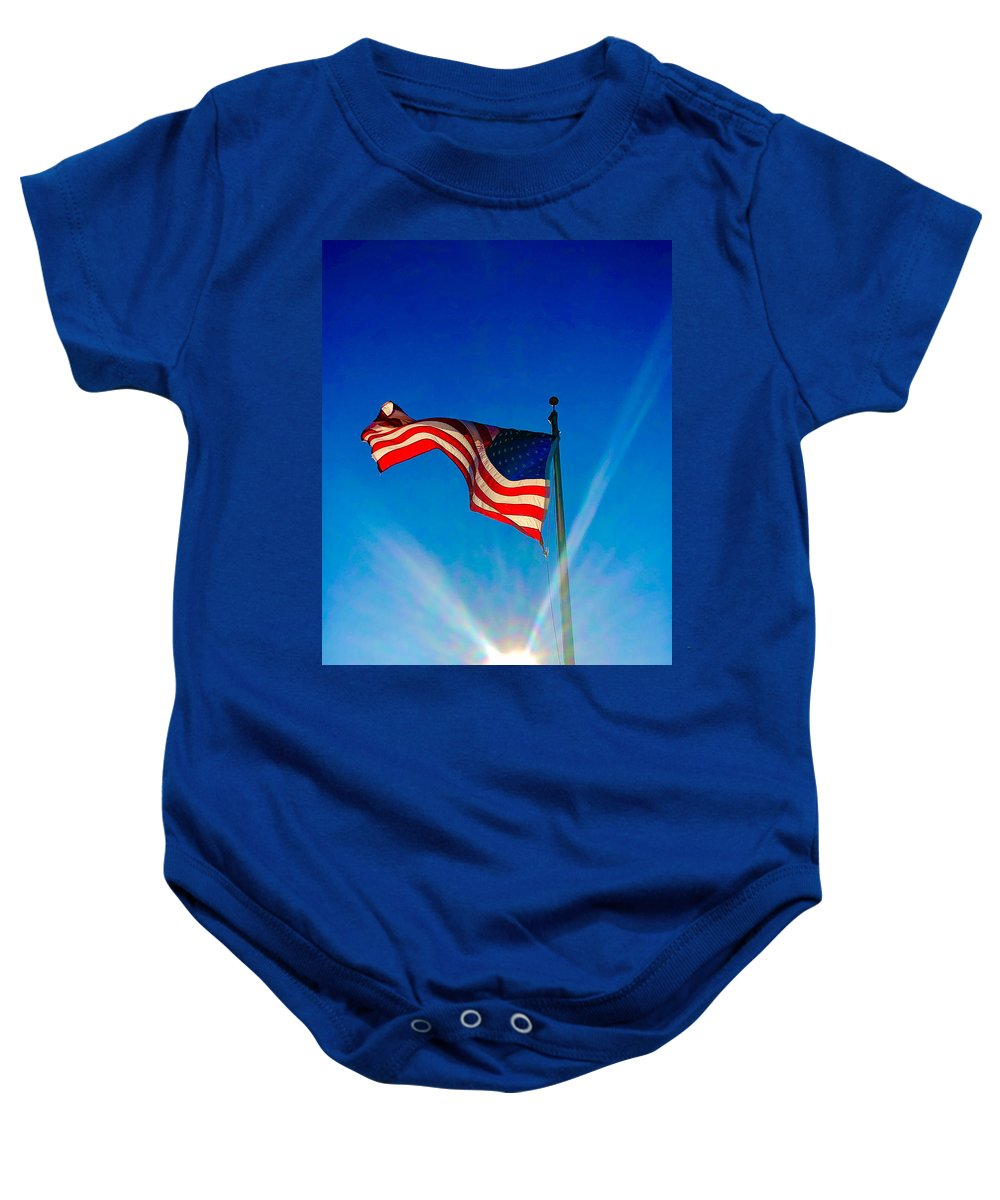 Flag Baby Onesie featuring the photograph Ole Glory by Michael Stothard