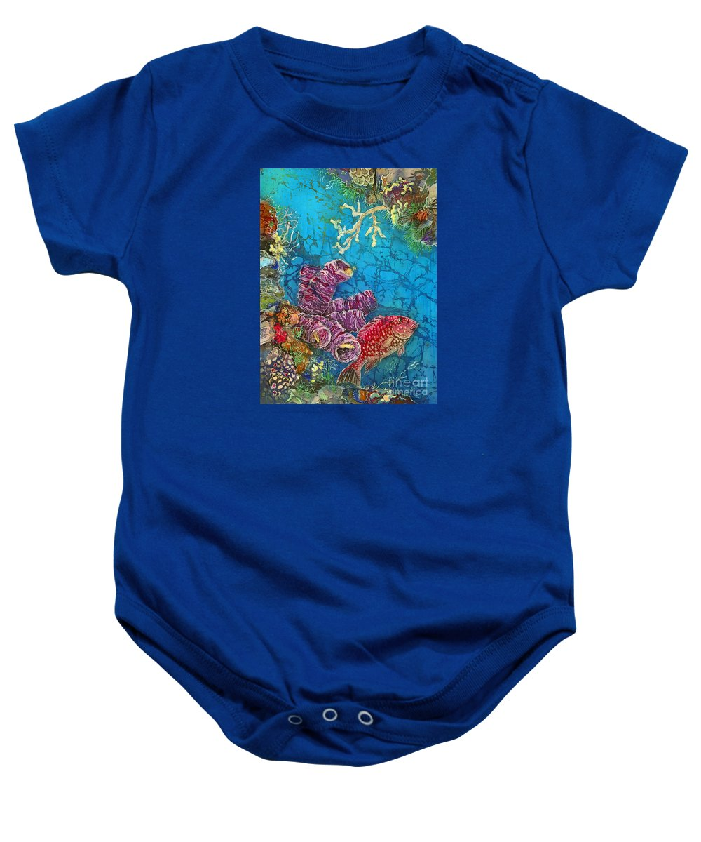 Ocean Baby Onesie featuring the painting Red Snapper by Sue Duda