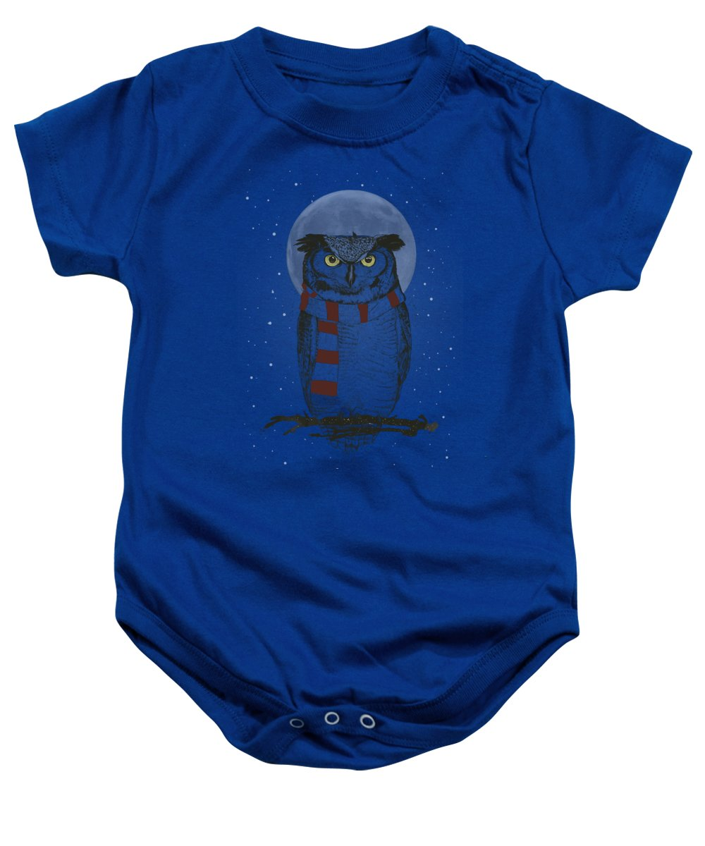Owl Baby Onesie featuring the drawing Winter owl II by Balazs Solti