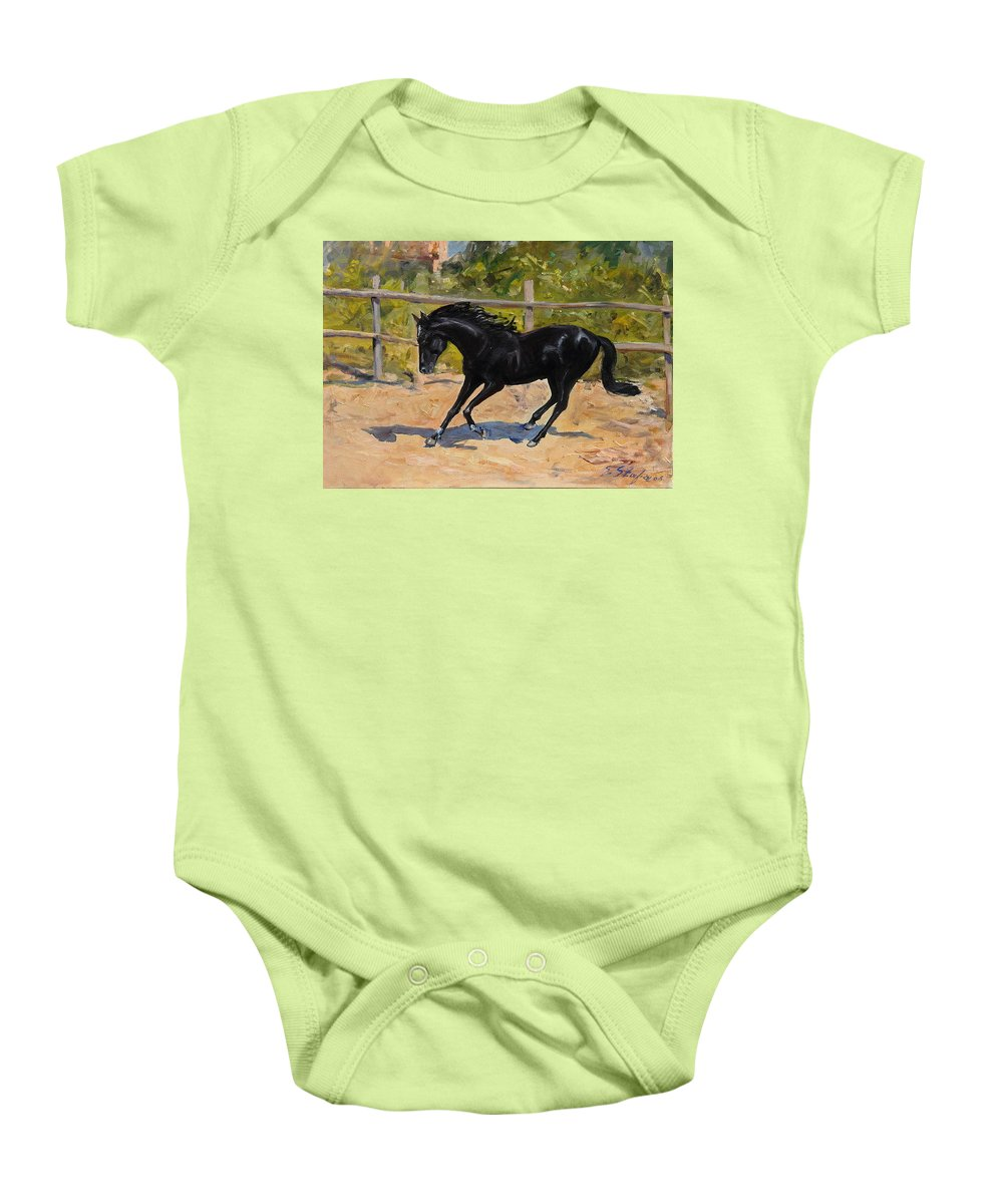 Horse Baby Onesie featuring the painting Black Horse by Sefedin Stafa