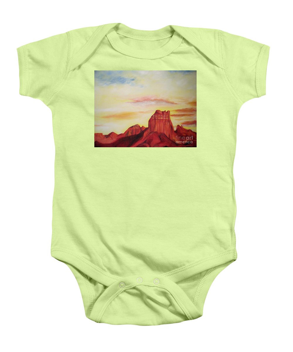 Western Baby Onesie featuring the painting Sedona Az by Eric Schiabor