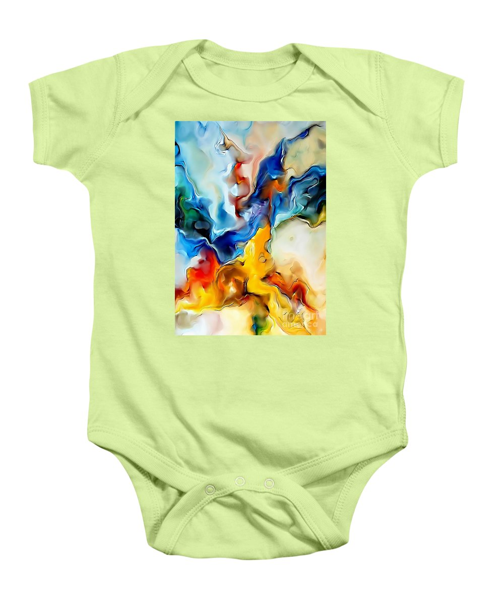 Abstract Baby Onesie featuring the painting Abstraction 599-11-13 Marucii by Marek Lutek