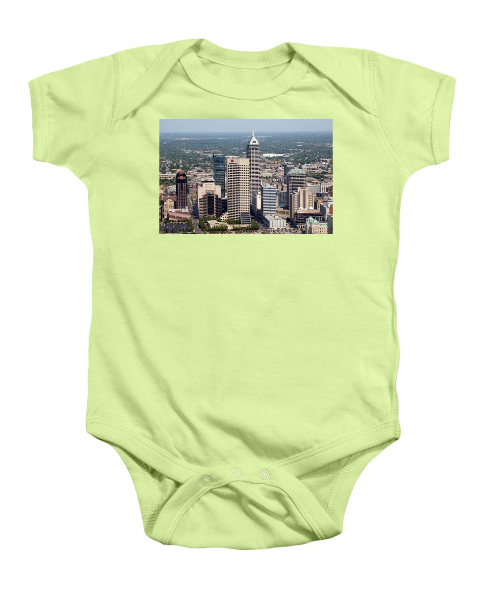 Skyline Scenes Baby Onesie featuring the photograph Aerial Of Downtown Indianapolis Indiana by Bill Cobb