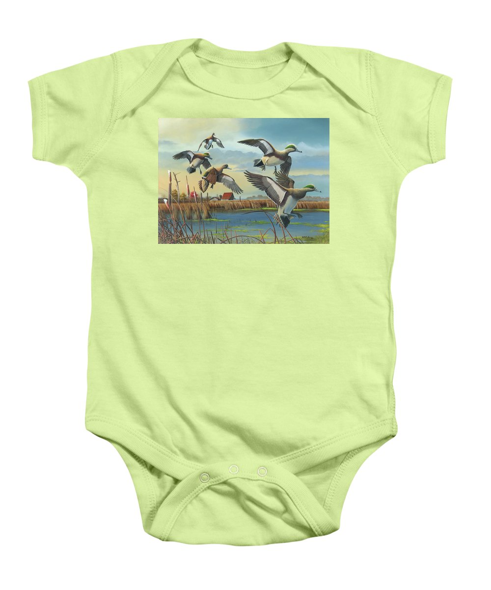 American Wigeons Baby Onesie featuring the painting Coming Home by Mike Brown