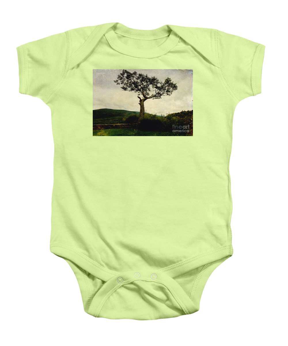Trees Baby Onesie featuring the digital art Lonely Tree by Trina Ansel