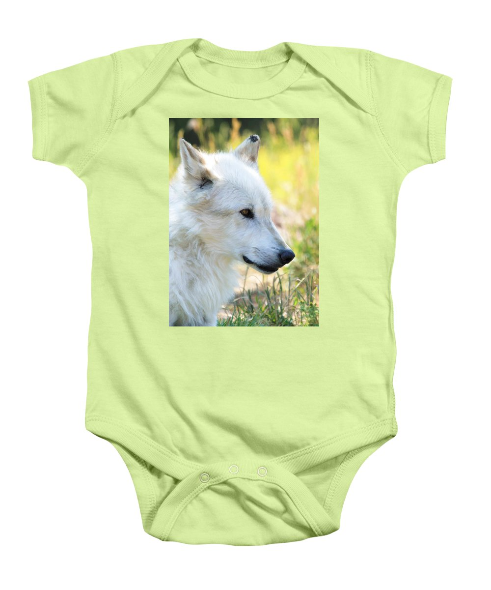 Wolves Baby Onesie featuring the photograph White Wolf by Athena Mckinzie