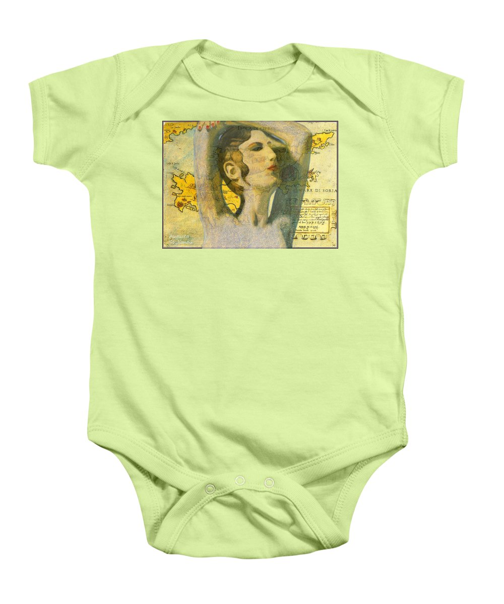 Augusta Stylianou Baby Onesie featuring the painting Ancient Cyprus Map And Aphrodite by Augusta Stylianou