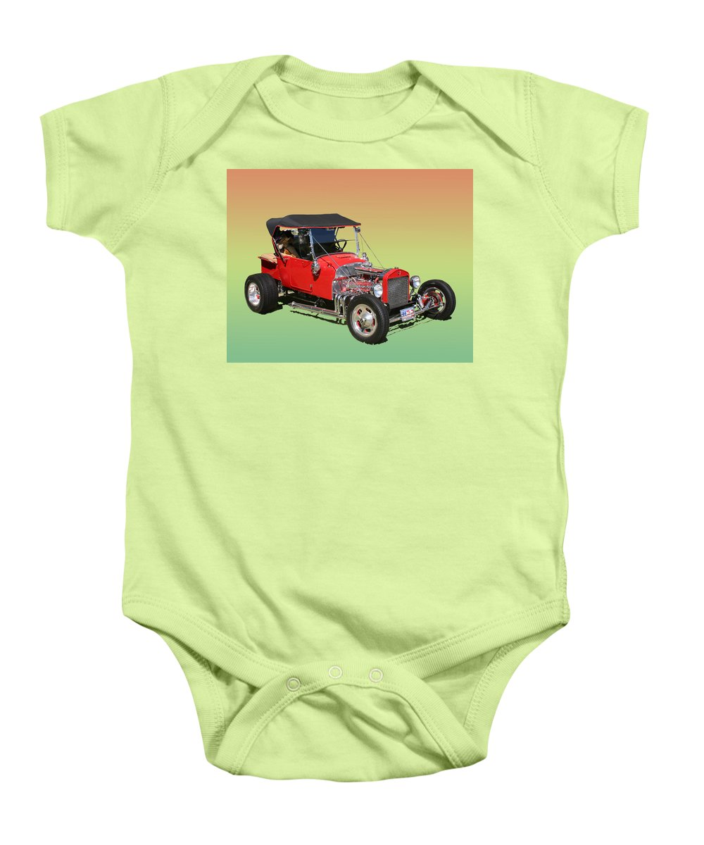 Hot Rod Photography Baby Onesie featuring the photograph 1927 Ford T Bucket Rag Top T Bucket by Jack Pumphrey
