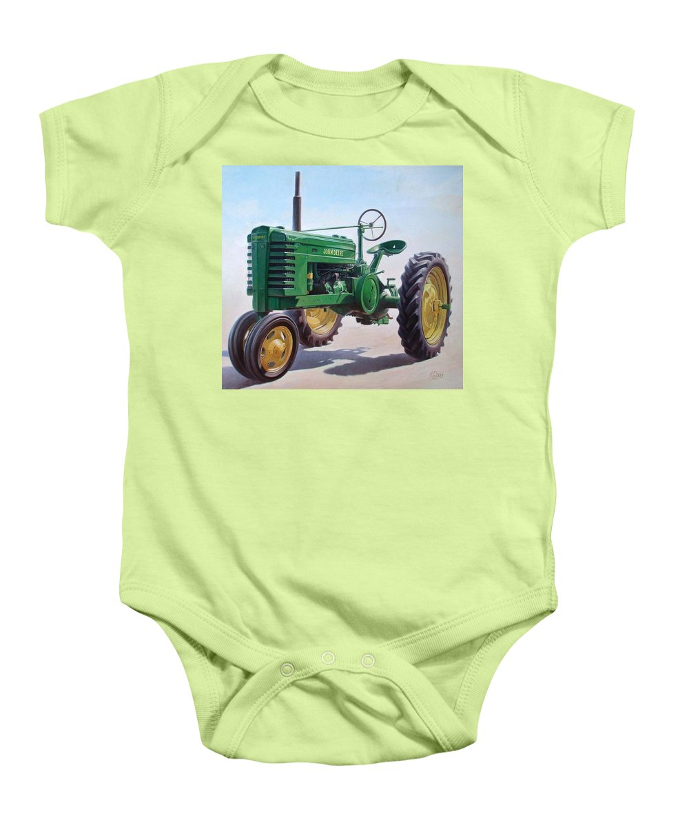 Tractor Baby Onesie featuring the painting John Deere Tractor by Hans Droog