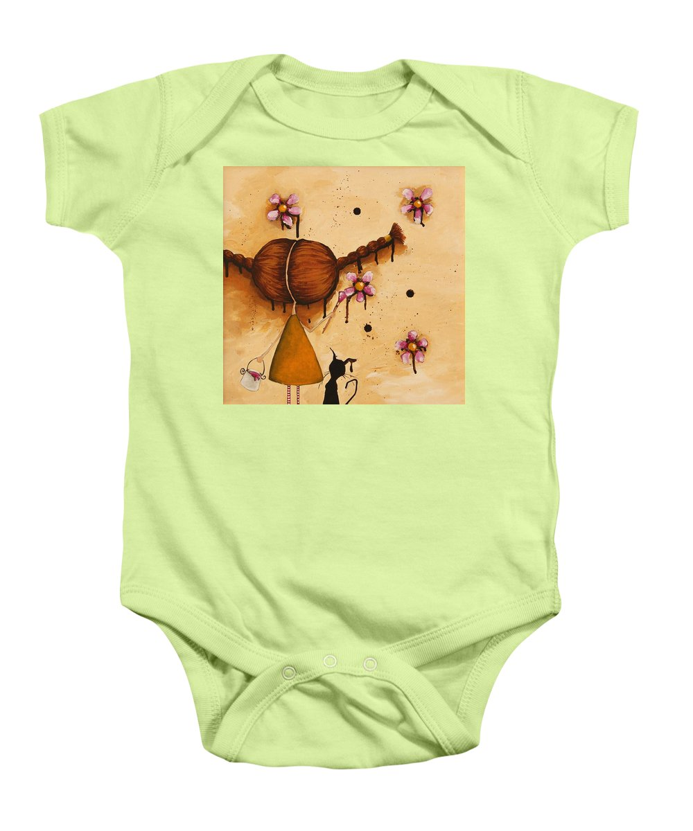 Whimsical Baby Onesie featuring the painting Painting Flowers by Lucia Stewart