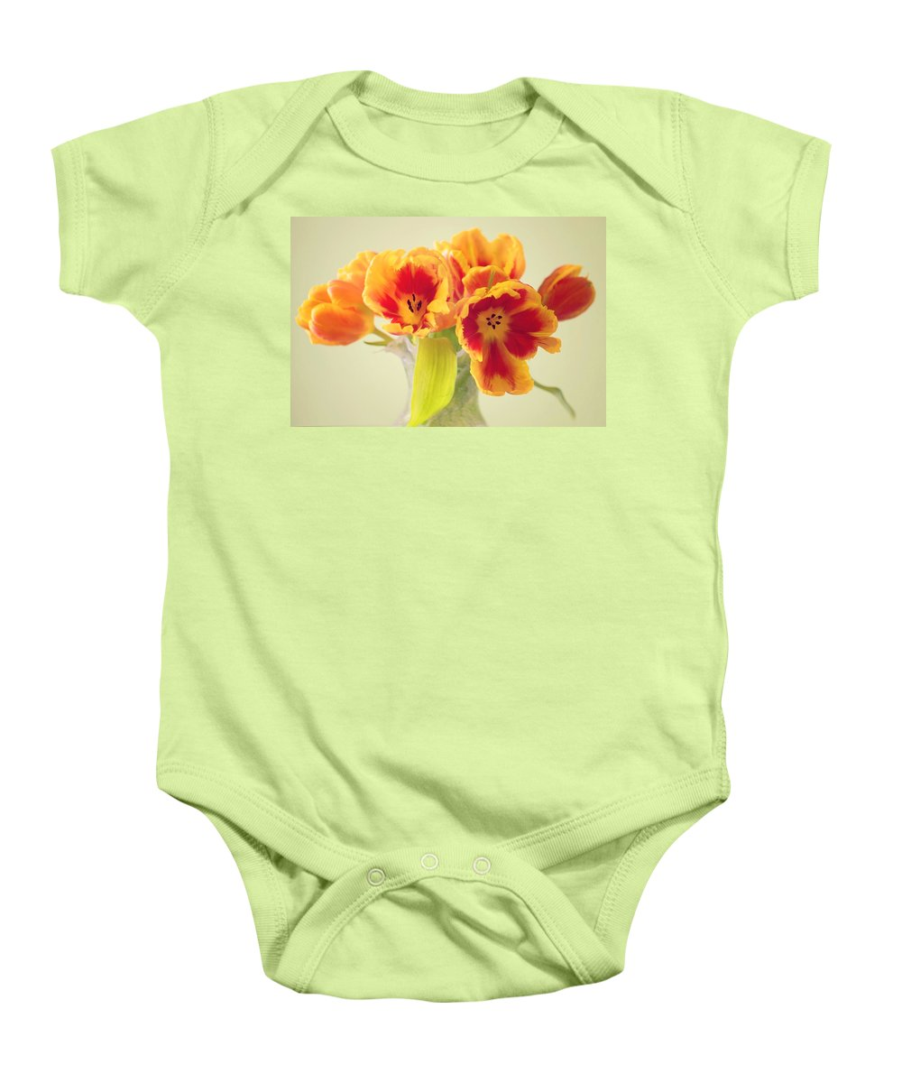 Tulpe Baby Onesie featuring the pyrography Tulip by Steffen Gierok