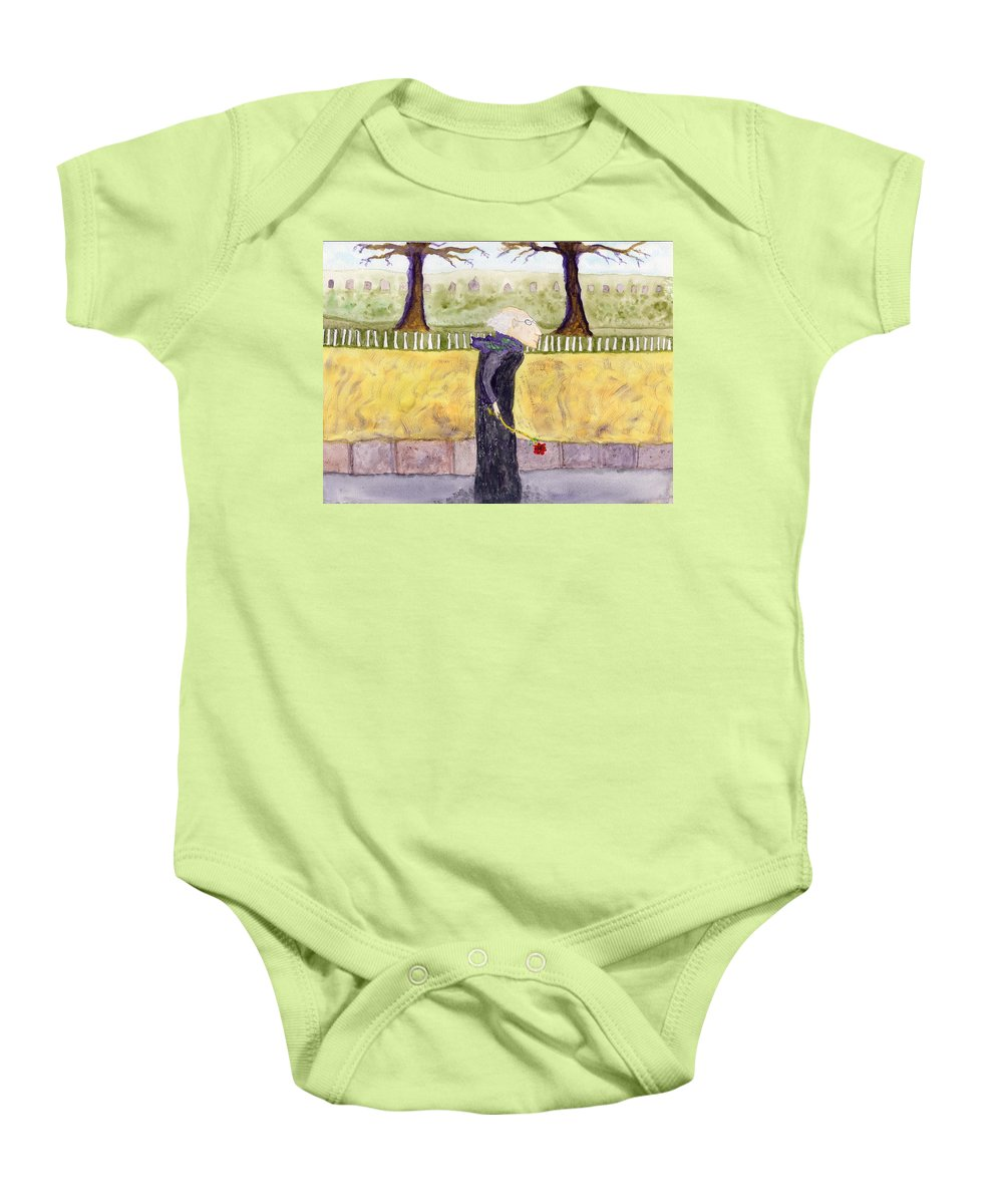 Jim Taylor Baby Onesie featuring the painting A Rose For My Dear by Jim Taylor