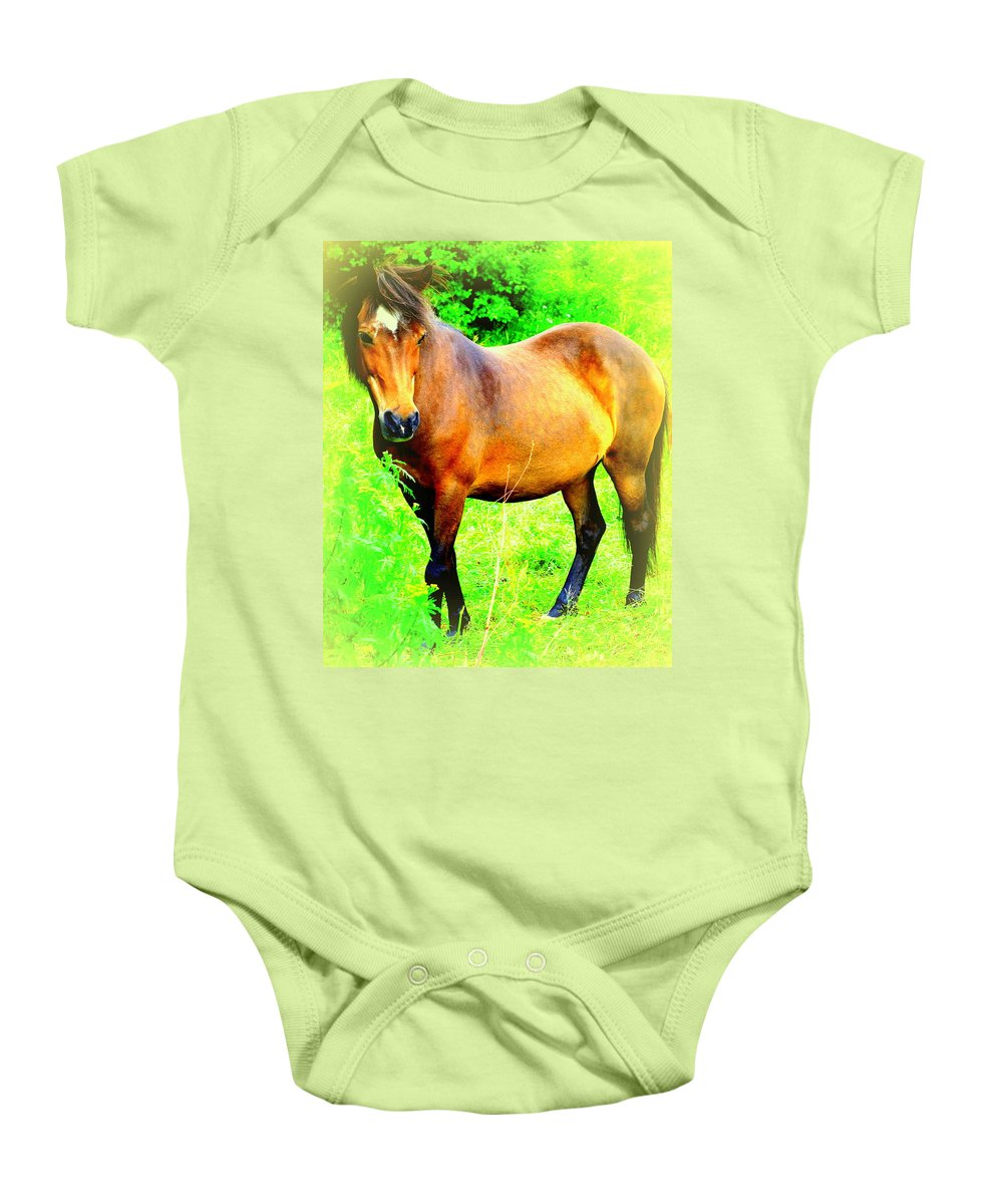 Horse Baby Onesie featuring the photograph You Always Deserved A Wonderful Life by Hilde Widerberg