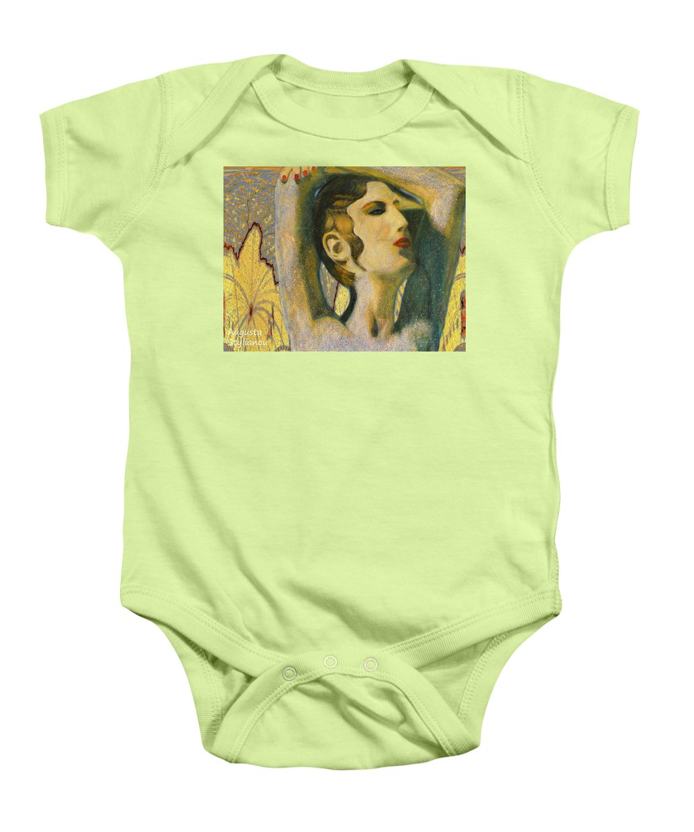 Augusta Stylianou Baby Onesie featuring the digital art Abstract Cyprus Map And Aphrodite by Augusta Stylianou