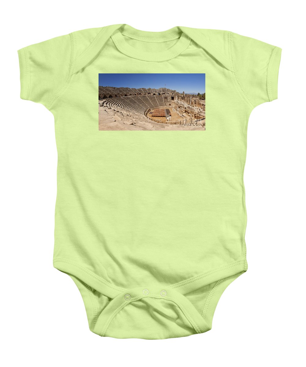 Theater Baby Onesie featuring the photograph Amphitheatre In Side Turkey by Sophie McAulay