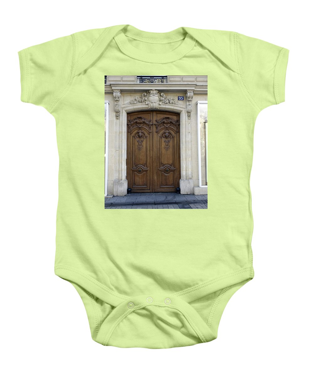 Paris Baby Onesie featuring the photograph An Ornate Door On The Champs Elysees In Paris France  by Richard Rosenshein