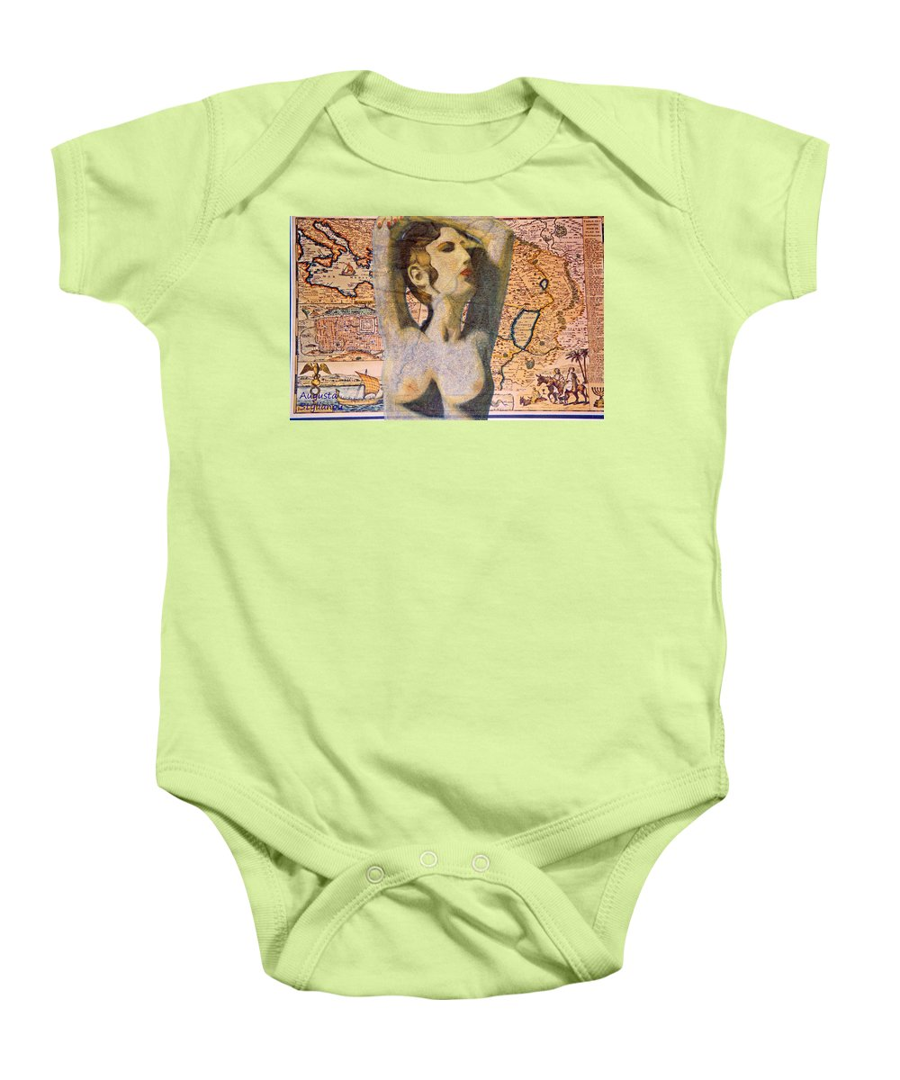 Augusta Stylianou Baby Onesie featuring the digital art Ancient Middle East Map And Aphrodite by Augusta Stylianou