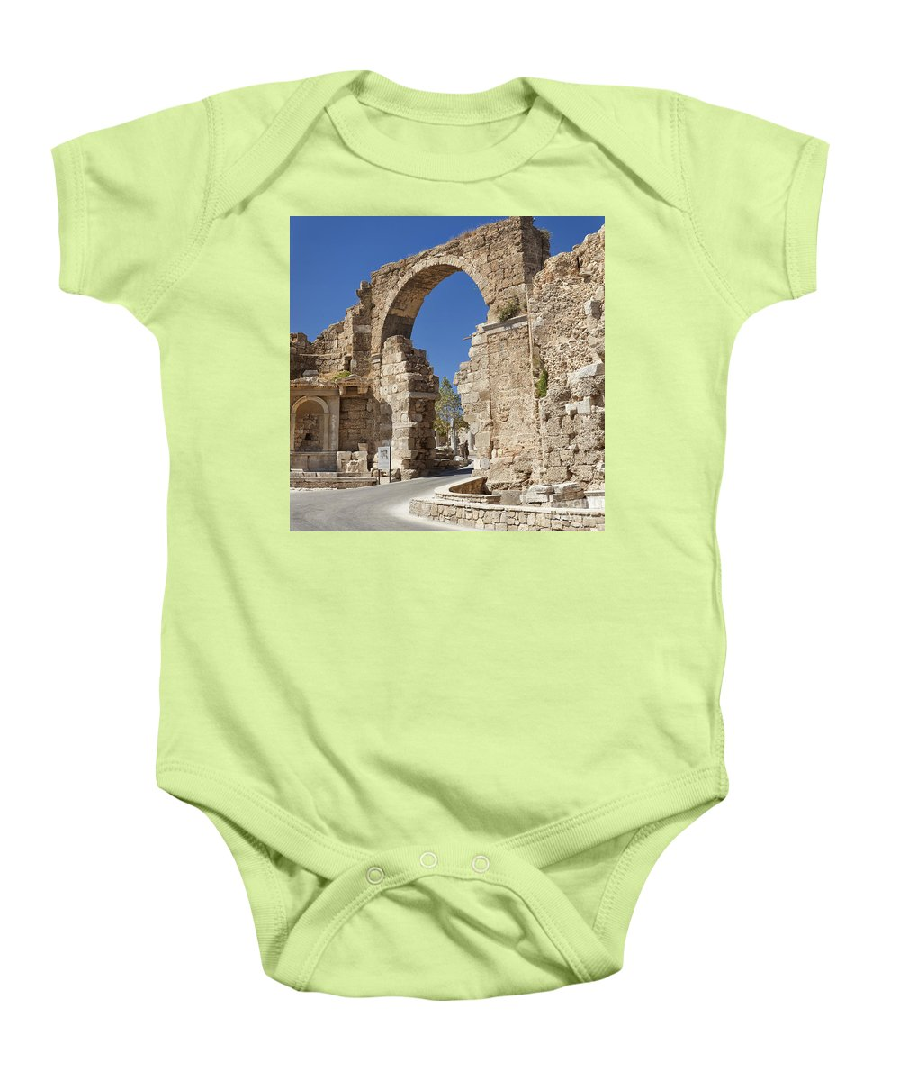 Side Baby Onesie featuring the photograph Ancient Side Entrance Gate by Sophie McAulay