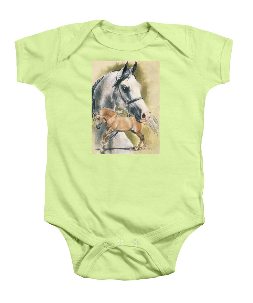 Horse Baby Onesie featuring the mixed media Anglo-arabian by Barbara Keith