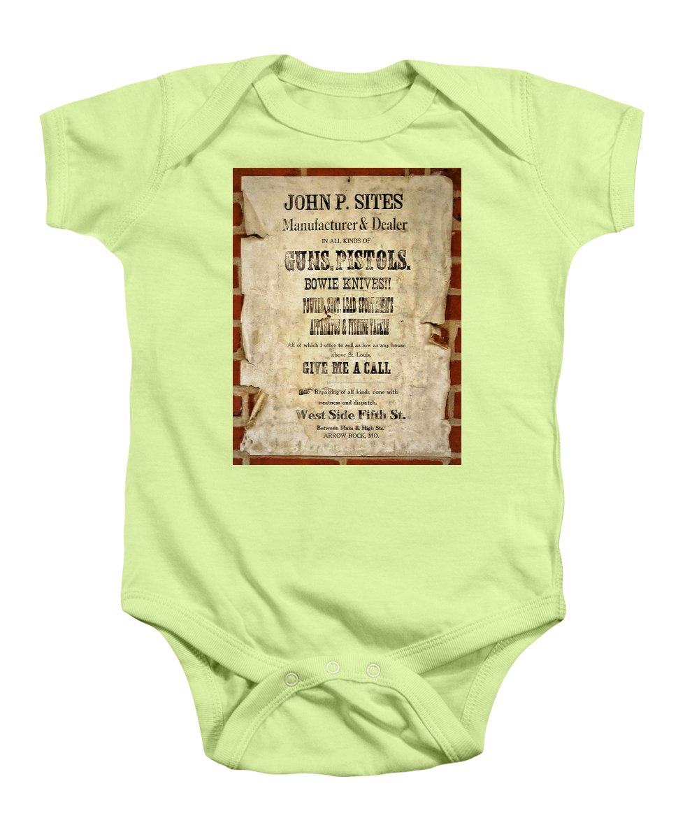 Arrow Baby Onesie featuring the photograph Arrow Rock - Gunsmith Sign by Cricket Hackmann