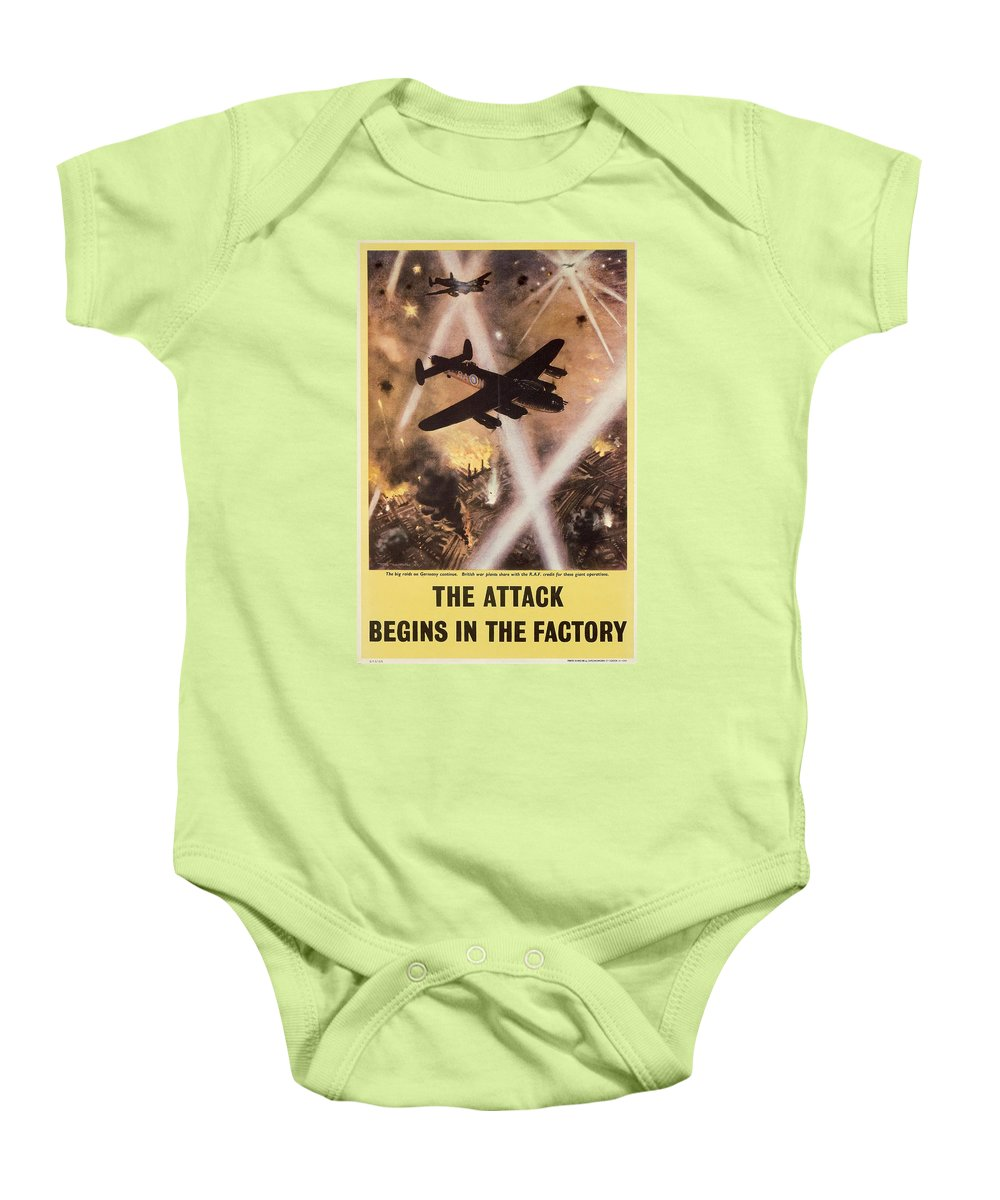 History; Second World War Baby Onesie featuring the drawing Attack Begins In Factory Propaganda Poster From World War II by Anonymous