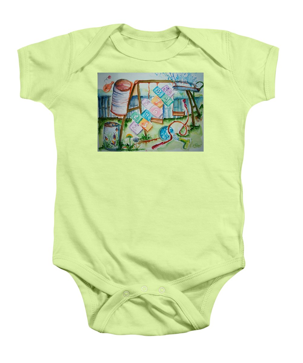 Backyard Baby Onesie featuring the painting Backyard Play Simple Times by Elaine Duras