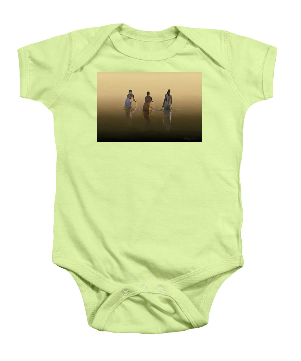 India Landscape Baby Onesie featuring the painting Bathing In The Holy River By Dominique Amendola by Dominique Amendola