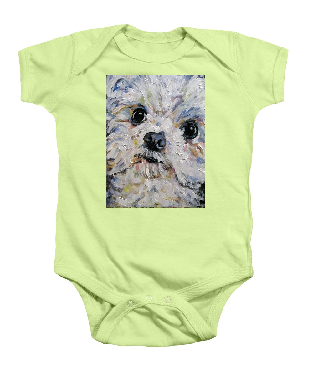 Poodle Baby Onesie featuring the painting Baxter by Susan Elizabeth Jones