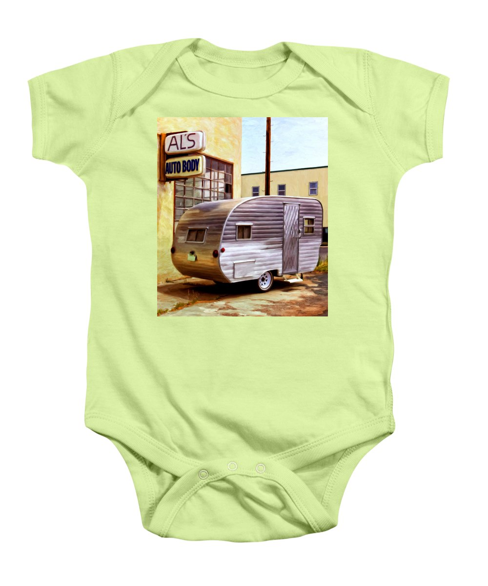 Vintage R.v. Canned Ham Travel Trailer Baby Onesie featuring the painting Becky's Vintage Travel Trailer by Michael Pickett